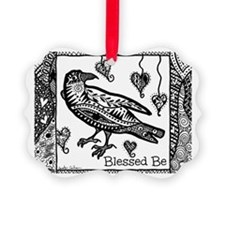 Blessed Be Raven B&W Ornament