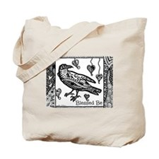 Blessed Be Raven B&W Tote Bag