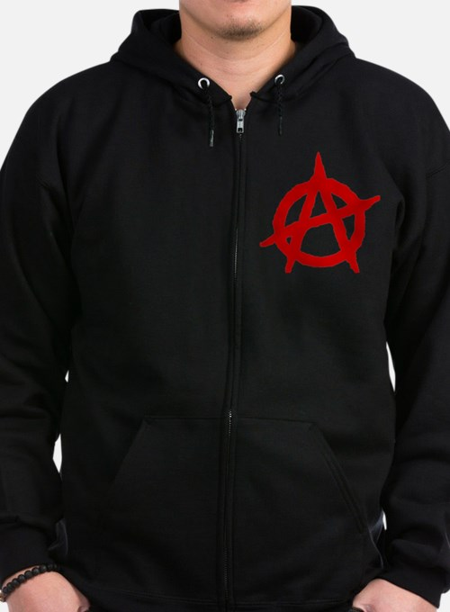 Anarchist 1 (red) Zip Hoodie
