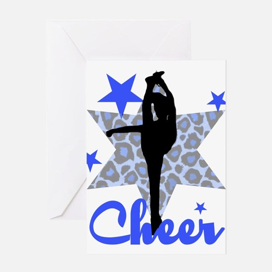 Blue Cheerleader Greeting Cards