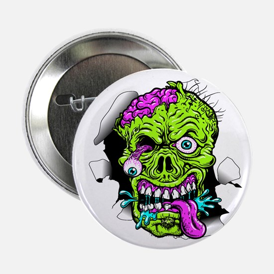 "Green Zombie Head 2.25"" Button (10 Pack)"