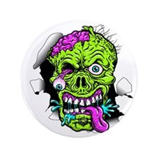 "Green Zombie Head 3.5"" Button (100 Pack)"