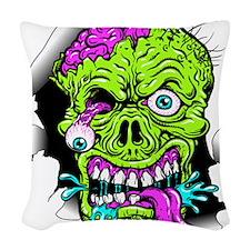 Green Zombie Head Woven Throw Pillow