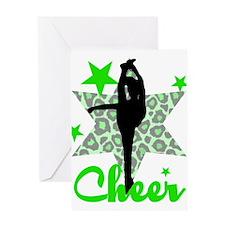Green Cheerleader Greeting Cards