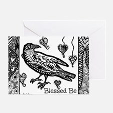 Blessed Be Raven Bw Greeting Cards