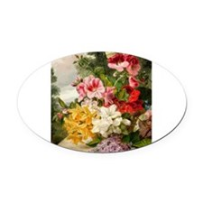 John Wainwright's painting, Floral Oval Car Magnet
