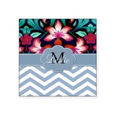 Monogram with ZigZag and Floral Sticker