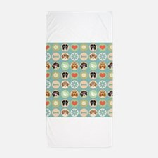 Dogs, Hearts, Paws, Flowers, Bones Beach Towel