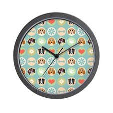 Dogs, Hearts, Paws, Flowers, Bones Wall Clock