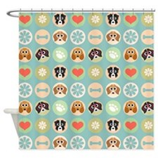 Dogs, Hearts, Paws, Flowers, Bones Shower Curtain
