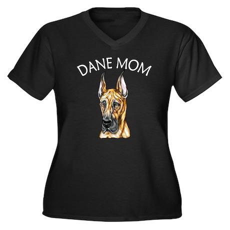 Brindle Dane Mom Women's Plus Size V-Neck Dark T-S