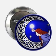 Celtic Moon Woman Button