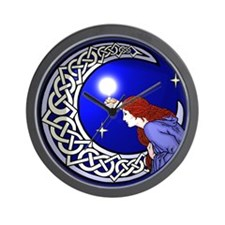 Celtic Moon Woman Wall Clock
