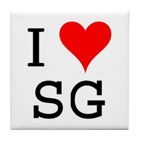 I Love SG Tile Coaster
