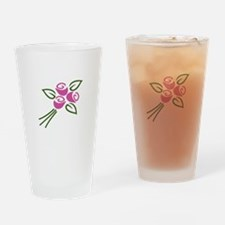 Pink Roses Drinking Glass