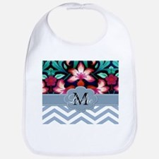 Monogram with ZigZag and Floral Bib