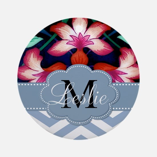 Monogram with ZigZag and Floral Ornament (Round)