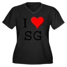 I Love SG Women's Plus Size V-Neck Dark T-Shirt