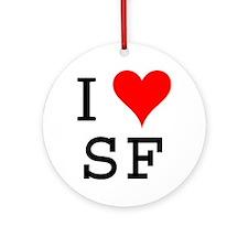 I Love SF Ornament (Round)