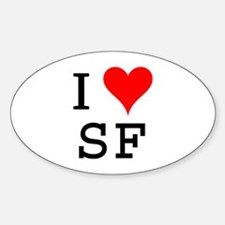 I Love SF Oval Decal