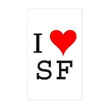 I Love SF Rectangle Decal