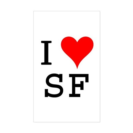 I Love SF Rectangle Sticker