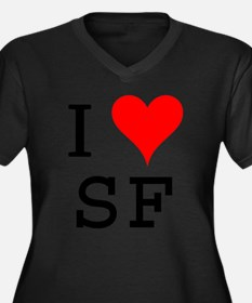 I Love SF Women's Plus Size V-Neck Dark T-Shirt
