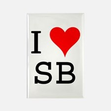 I Love SB Rectangle Magnet