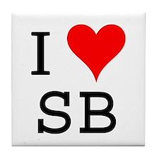 I Love SB Tile Coaster