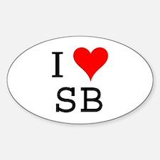 I Love SB Oval Decal