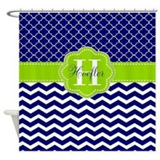 Navy Lime Green Chevron Personalized Shower Curtai