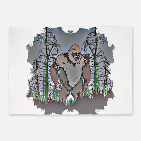 Bigfoot in timber 5'x7'Area Rug