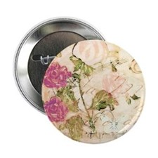"Vintage flowers and butterflies 2.25"" Button"