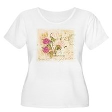 Vintage flowers and butterflies Plus Size T-Shirt