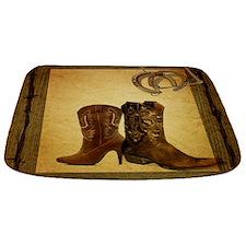 cowboy boots western country barn wood Bathmat