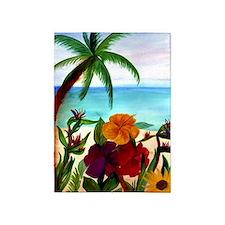 Tropical Floral Beach 5'x7'area Rug