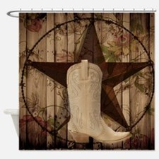 cowboy boots western country barn wood Shower Curt