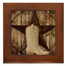 cowboy boots western country barn wood Framed Tile