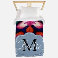 Monogram with ZigZag and Floral Twin Duvet