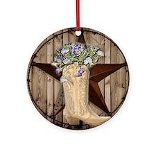 cowboy boots western country barn wood Ornament (R