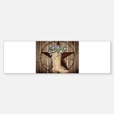 cowboy boots western country barn wood Bumper Stic