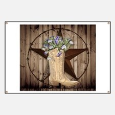 cowboy boots western country barn wood Banner