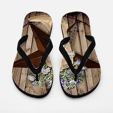 cowboy boots western country barn wood Flip Flops