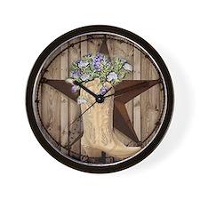 cowboy boots western country barn wood Wall Clock