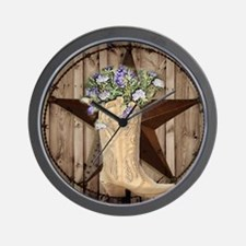 cowboy boots western country barn wood Wall Clock