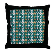 Cartoon Dogs on Teal Background Throw Pillow