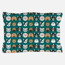 Cartoon Dogs on Teal Background Pillow Case
