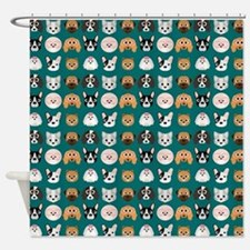 Cartoon Dogs on Teal Background Shower Curtain