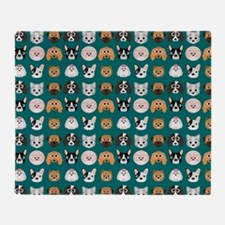 Cartoon Dogs on Teal Background Throw Blanket