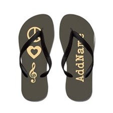 Peace Love Music Flip Flops